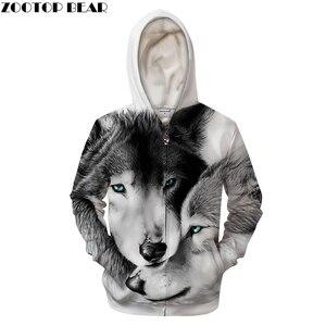 Image 1 - Lovers Wolves 3D Print Hoodies Men Women Tracksuit Summer Casual Long Sleeve Sweatshirt Pullover Zipper Drop Ship ZOOTOP BEAR