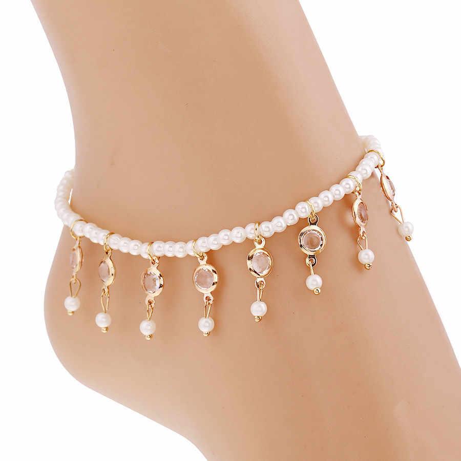 AOMU Altın Renk İmitasyon İnci Püskül Kristal Halhal Kadınlar Için Paslanmaz Çelik Ayakkabı Çizme Bacak Zinciri Bilezik ayak takısı