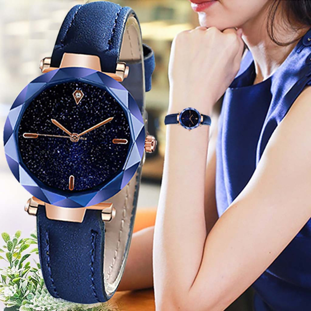 Explosion New Simple And Stylish Women Watch Luxurious Starry Dial Convex Mirror Leather Strap Watch Reloj Mujer Dropshipping *A