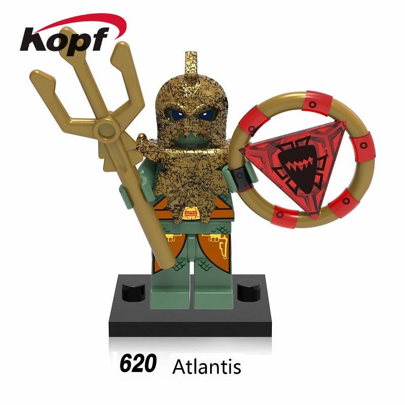 Single Sale Super Heroes Medieval Egyptian Warrior AtlantPis haraoh Action Figures Building Blocks Children Gift Toys XH 620