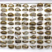 цена на Newest Gold Color Clear Rhinestone Paved Rings Leaf, Flower, Crown Shape Mixed Lot 50pcs/lot