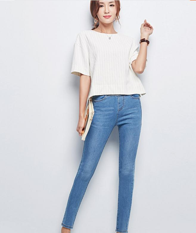 De Primavera azul Las Fuerza azul Otoño Jeans Cielo Mujeres Pan Tensión Gran Coreano Pies Nuevo Cintura Negro Y Estilo Alta Grado 2017 Tamaño Elástica ra1rqX