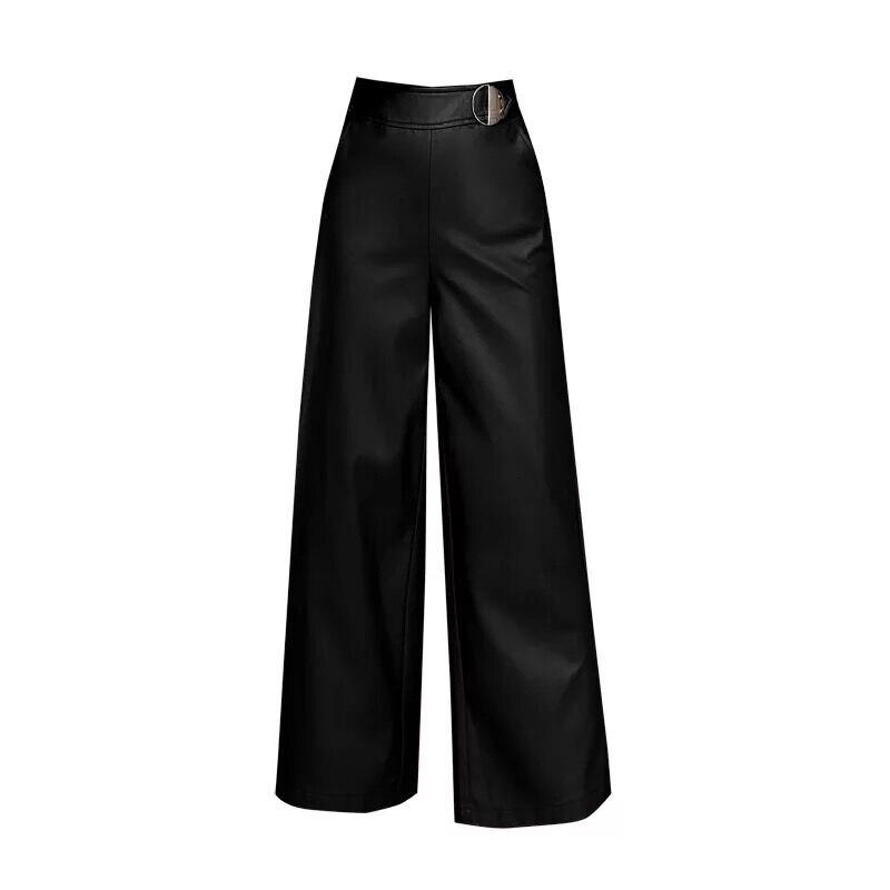 Wide Leg Pants Capirs Women 2019 Winter Warm PU Leather Pants Female Trousers OL Office Formal Casual Pants Woman Plus Size