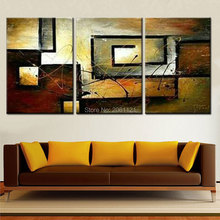 Hand made triptych painting mess effect canvas wall art gray brown oil abstract modern for linving room
