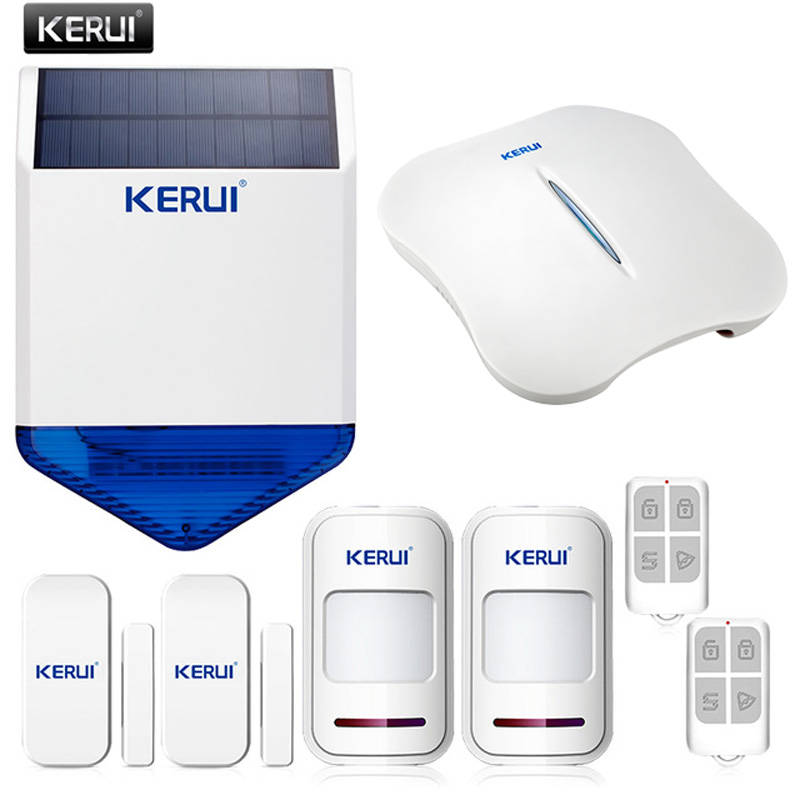 KERUI WiFi PSTN Burglar anti-theft Home Security Alarm System APP Control + outdoor alarm wireless solar siren Double Protection