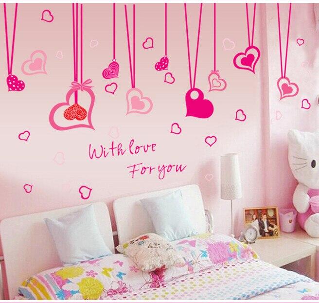 corazones de color rosa de la muchacha cortinas de dibujos animados etiqueta de la pared para
