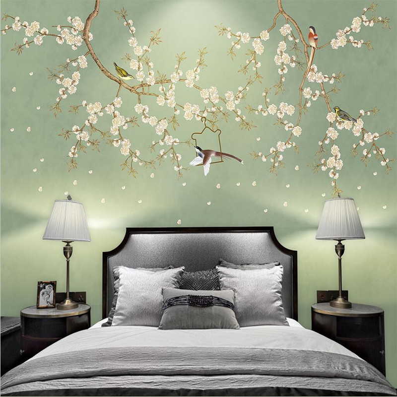 Custom 3d Photo Wallpaper Mural Hand-painted New Chinese 3d Flower and Bird Plum Murals Living Room Soft Background Decorative retro table bread glass vegetables fruits hand painted restaurant mural kitchen living room custom wallpaper