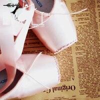 Elástica Rosa dividir couro sola prática curativo fitas pointe sapatos de ballet pointe sapatos para mulheres competição