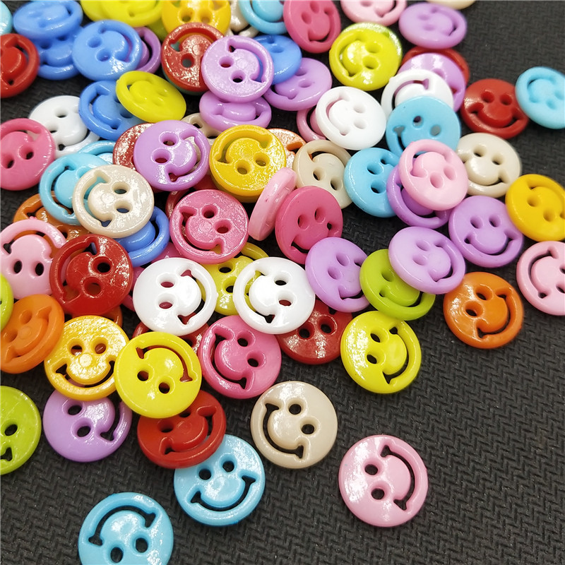 suoja 50PCS lot 12MM New Lots Colors Flatback Smile Plastic Buttons Children 39 s Apparel Sewing Accessories DIY Scrapbooking in Buttons from Home amp Garden