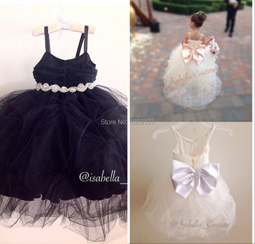 Blackwhite Princess Flower Girl Dresses With Beading Belt New 2017