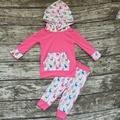 Девочки зимняя одежда девушки бутик одежды Рождество дети ОЛЕНЕЙ с капюшоном наряды ярко-розовый балахон Рождество балахон