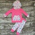 Meninas do bebê roupas de inverno meninas boutique roupas De Natal crianças RENAS capuz outfits rosa quente moletom com capuz hoodie Do Natal