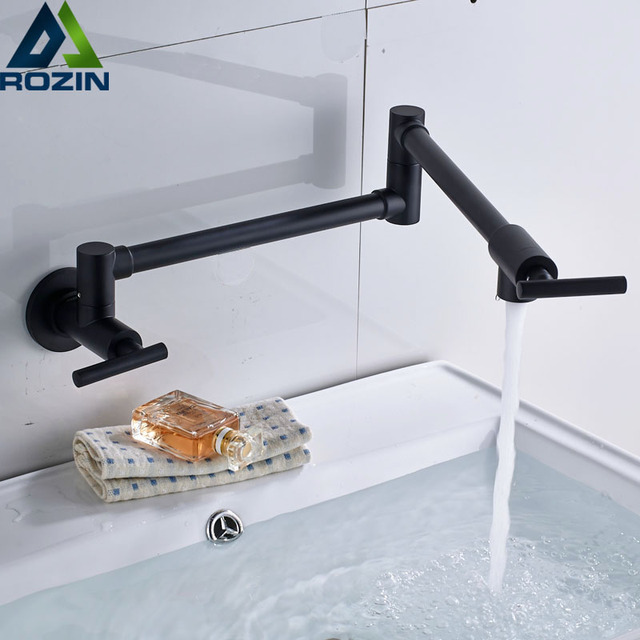 Wall Mounted Cold Water Folding Kitchen Faucet Single Handle Retractable Swivel Bathroom Vanity Sink Taps