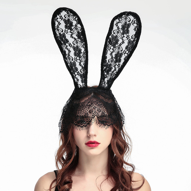 0a23c01cf56 2018 Fashion Halloween Women Girl Hair Bands Lace Rabbit Bunny Ears Veil  Black Eye Mask Party Headwear Hair Accessories-in Women s Hair Accessories  from ...