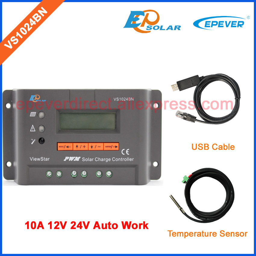 24V 10A controller PWM EPSolar/EPEVER 10amp Solar regulator with USB communication cable and temperature sensor 12V/24V 10a 10amp mini home controller 12v 24v auto work ls1024b pwm solar battery regulator bluetooth function and cables epever