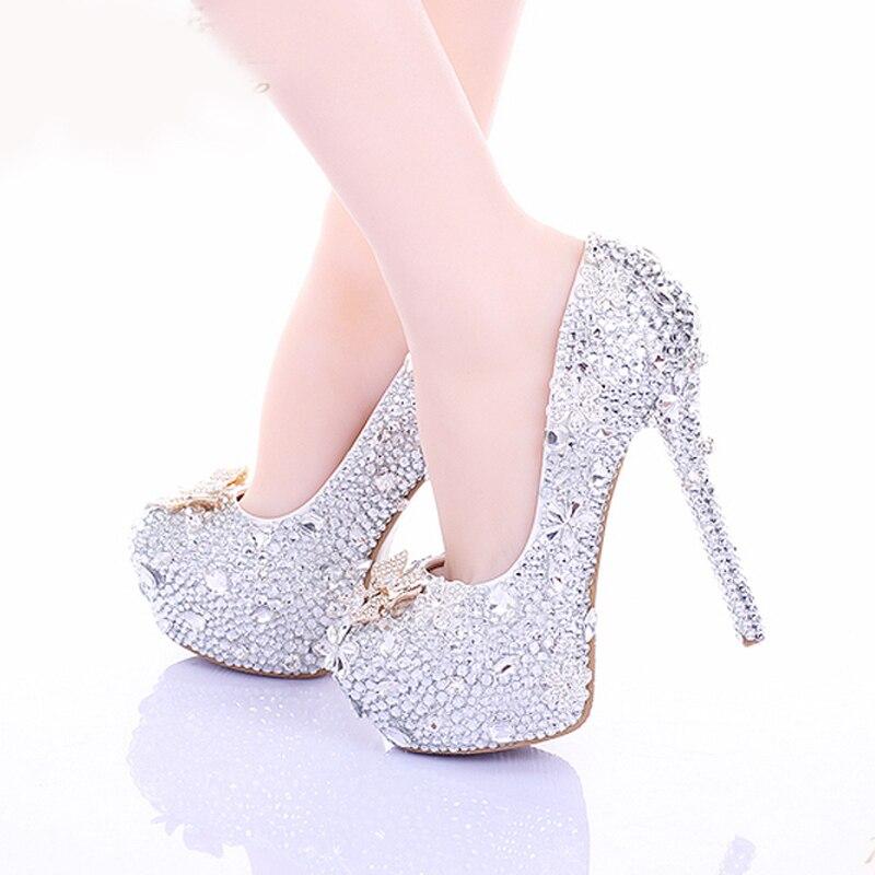 2018 Round Toe Formal Occasion Prom Shoes 14cm Thin Heel Rhinestone Bridal Shoes Cinderella High Heels Crystal Wedding Shoes