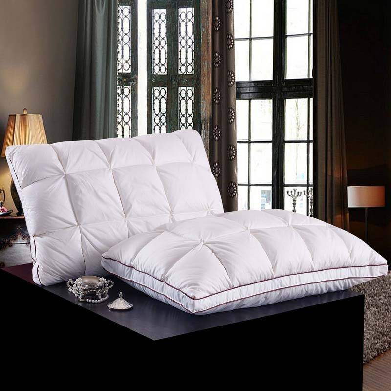 rectangle 95%goose Down+5% Feather Pillow white color Down-proof Cotton bed pillows bedding neck almohada Neck Health 48*74cm купить