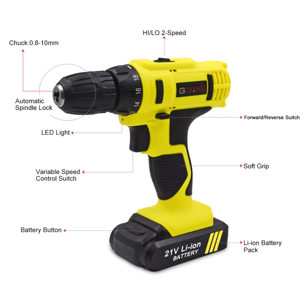21V Cordless Drill Screwdriver Driver 18+1 Tool Repair Home DIY Led Worklight