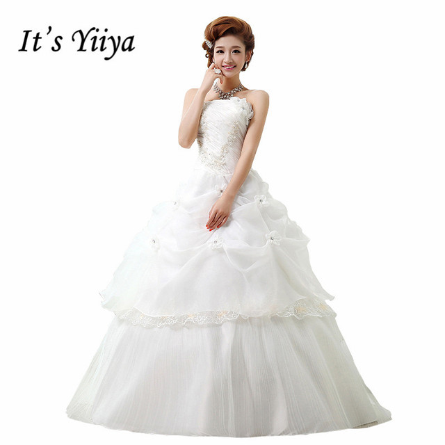 Free Shipping Tulle Flowers Strapless Wedding Dresses Princess Red ...