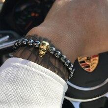 b15466d6269d Pulsera de cuentas de piedra de hematita negra Mcllroy pulsera y brazalete  de calavera masculina para Mujeres Hombres de lujo jo.