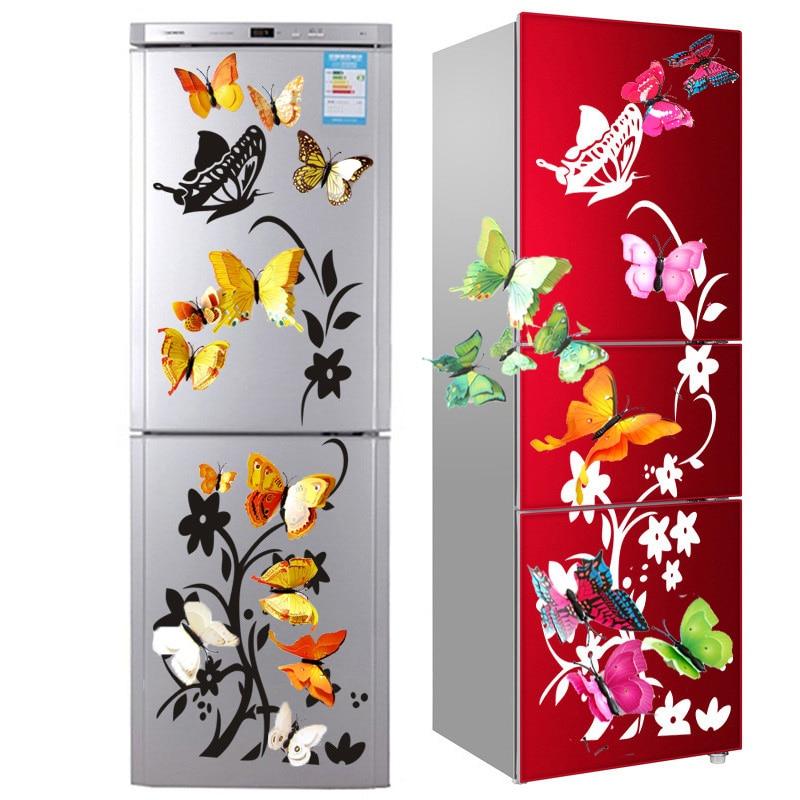 12Pcs Double Layer Butterfly Art Wall Refrigerator Sticker Home Decor DIY Wedding Party Sticker Wall Butterflies Fridge Sticker(China)