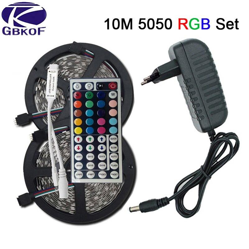SMD RGB LED Streifen Licht 5050 3528 10 mt 5 mt LED Licht rgb Leds klebeband diode led band Flexible mini IR-Controller dc 12 v Adapter set