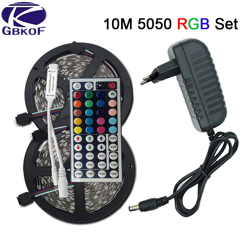 цена на SMD RGB LED Strip Light 5050 3528 10M 5M LED Light rgb Leds tape diode led ribbon Flexible mini IR Controller dc 12V Adapter set