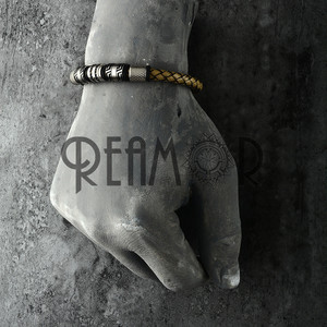 Image 2 - REAMOR Vintage Gray Genuine Leather Braided Bracelet Men Black Color Stainless Steel Cuff Bracelets & Bangles Male Jewelry Gift