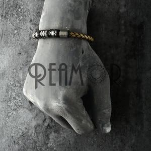 Image 2 - REAMOR pulsera trenzada de cuero genuino para hombre, brazalete de acero inoxidable, Color negro, Vintage, gris