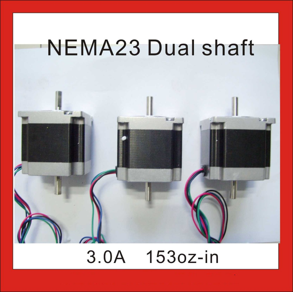1pcs/lot NEMA 23 Stepper Motor Dual Shaft 6.35mm 1.2N.m (167oz-in) Body Length 56mm CE ROHS CNC Stepping Motor nema23 dual shaft nema 17 stepper motor 52n cm 72 oz in body length 48mm ce rohs cnc 3d printer motor