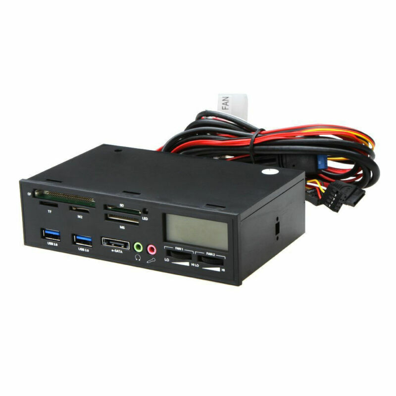 5.25 Inch USB3.0 Media Dashboard Front Panel Card Reader HUB SATA Black
