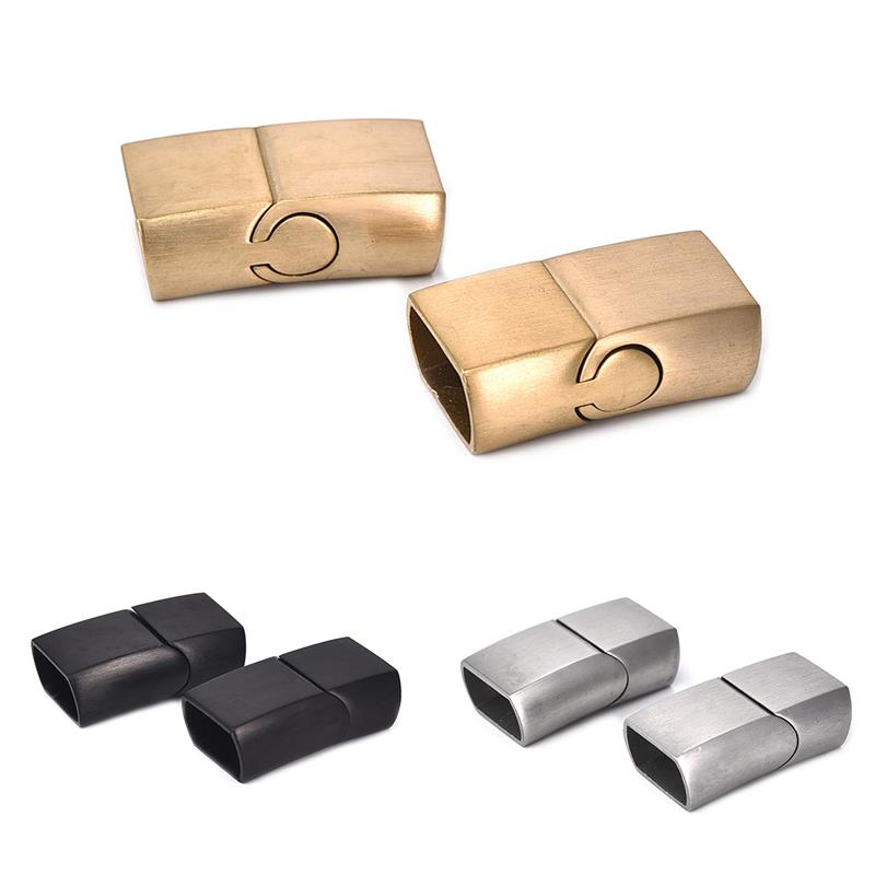 2Sets Vintage Stainless Steel Magnetic Clasps buckle 11x6mm Connector for DIY Leather Bracelet Jewelry Making Component Findings