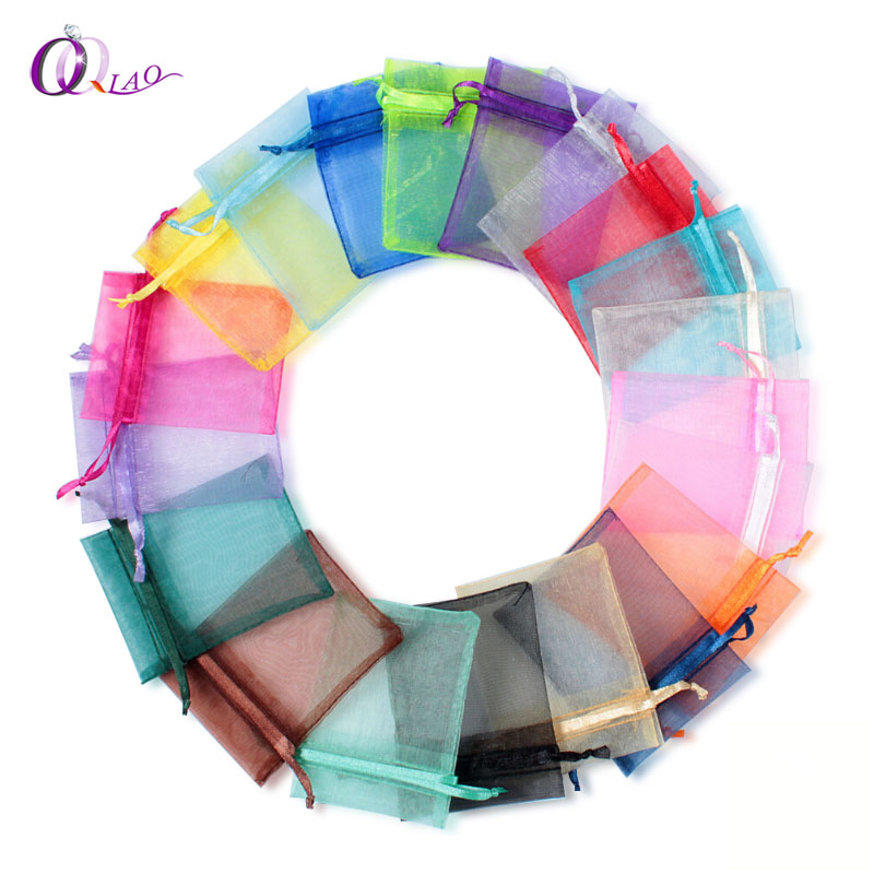 100pcs/lot 7*9cm organza bag Christmas wedding gift bag 16 color selection jewelry packing Display jewelry bag&pouch favor bags