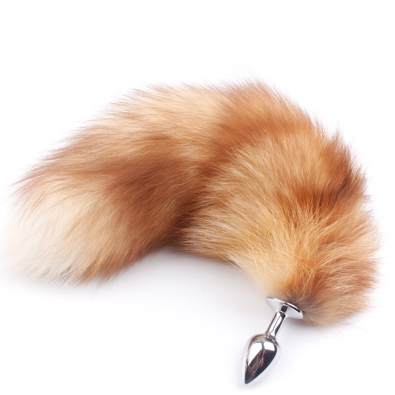 Orderly Fanala Drop Shipping Real Gold Fox Tail Anal Plug Fetish Fantasy Soft Fox Tail Butt Plug Cosplay Animal Crawls Paws Tail Plug Punctual Timing Anal Sex Toys Sex Products
