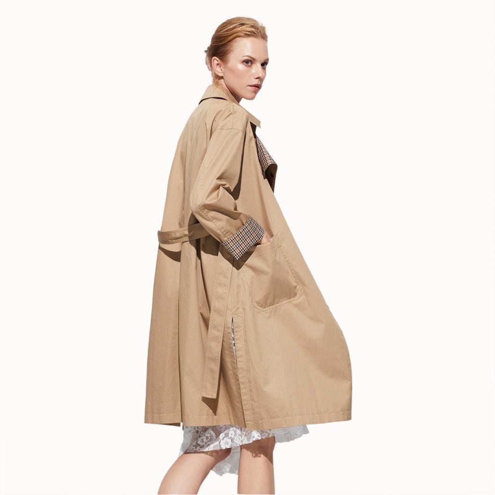 Kadın Giyim'ten Siper'de 2019 ilkbahar ve sonbahar uzun Avrupa ve Amerikan rahat rüzgarlık kadın ceketi'da  Grup 1