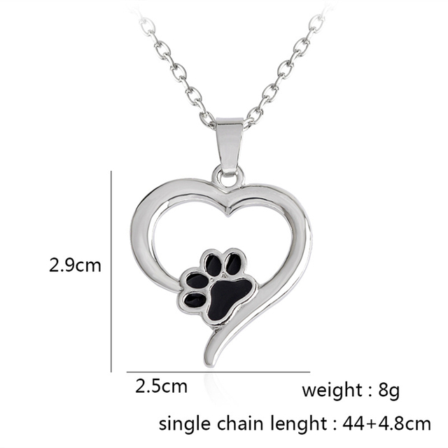 Silver Crystal Cute Cat Dog Puppy Paw Print Heart Necklace Women Statement Animal 4