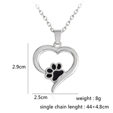 Silver Paw Print Heart Pendant Necklace