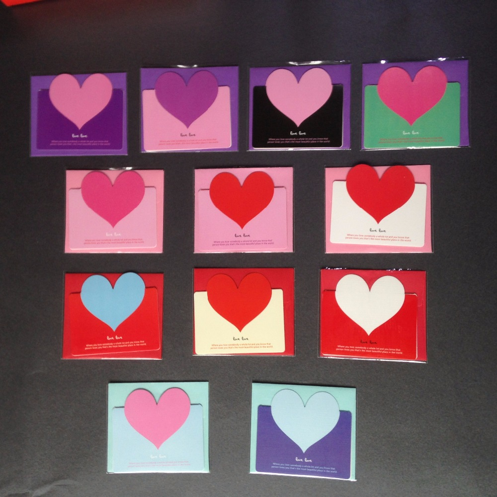 Aliexpress Buy 1pc Heart Greeting Cards Creative Diy Custom