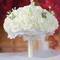 Красивый Цветок Розы Свадебный Букет с Жемчугом Белый Розовый Фиолетовый Коралловый Красный Бургундия Невесты Свадебное Букет де mariage