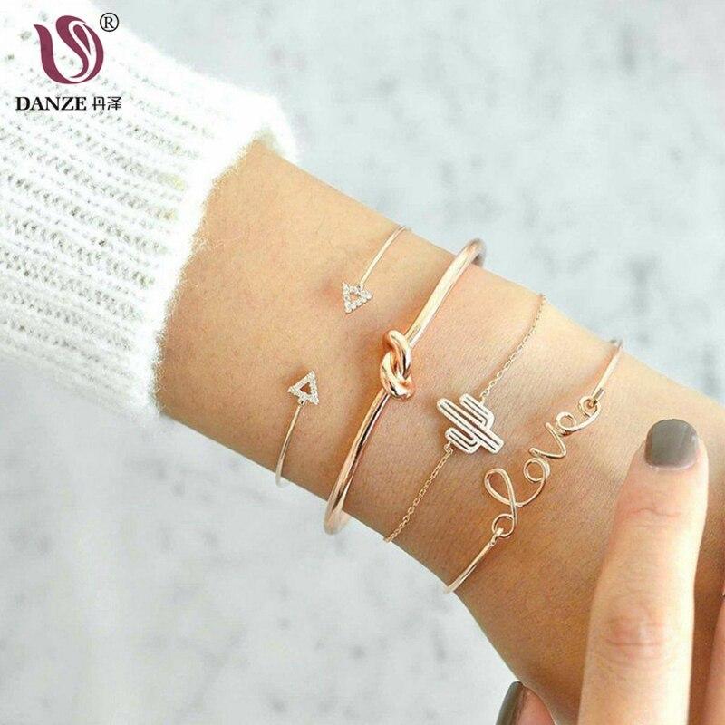 DANZE 4 pcs/set Fashion Triangle Knot Bracelets Bangles Set Cuff Bangles Set For Women Bijoux Femme Cheap Wholesale