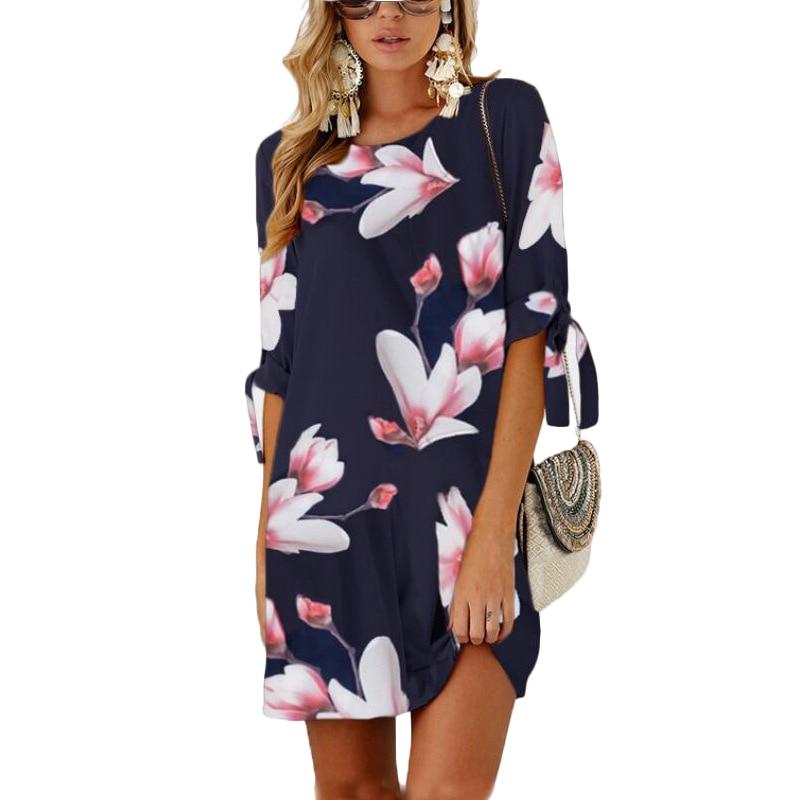 Casual Print Half Sleeve O-neck Mini Floral Chiffon Summer Dress 2019 Plus Size Dresses For Women 3XL 4XL 5XL Vestidos