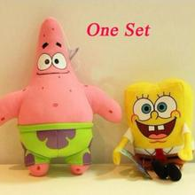 2pcs lot 23cm Cartoon Animal Doll Toy Stuffed and Plush Toys SpongeBob and Patrick Star Gift