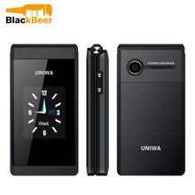 UNIWA X28 Flip GSM telefon komórkowy 1.77,2.8 calowy podwójny wyświetlacz Dual SIM telefon dla seniora bezprzewodowy telefon komórkowy Bluetooth FM dla osób starszych