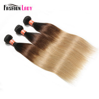 Fashion Lady Pre Colored 1b/4/27 Ombre Raw Indian Straight Hair 3 Bundles Together 100% Human Hair Extensions Non Remy