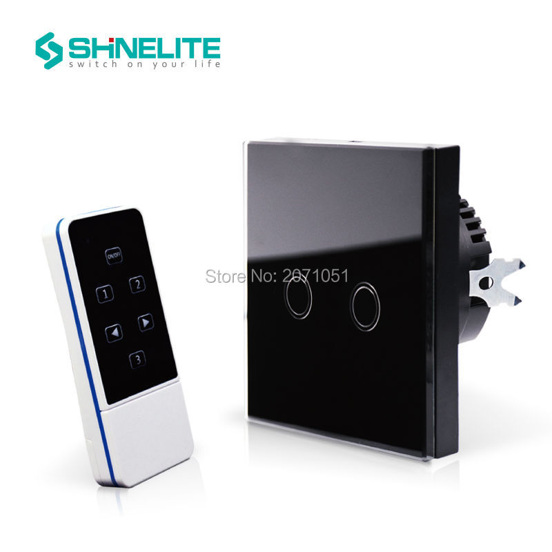 Free Shipping,EU Standard home electronic touch tactile switch with remote control, touch glass panel 2 gang 1 way, 433Mhz smart home us black 1 gang touch switch screen wireless remote control wall light touch switch control with crystal glass panel