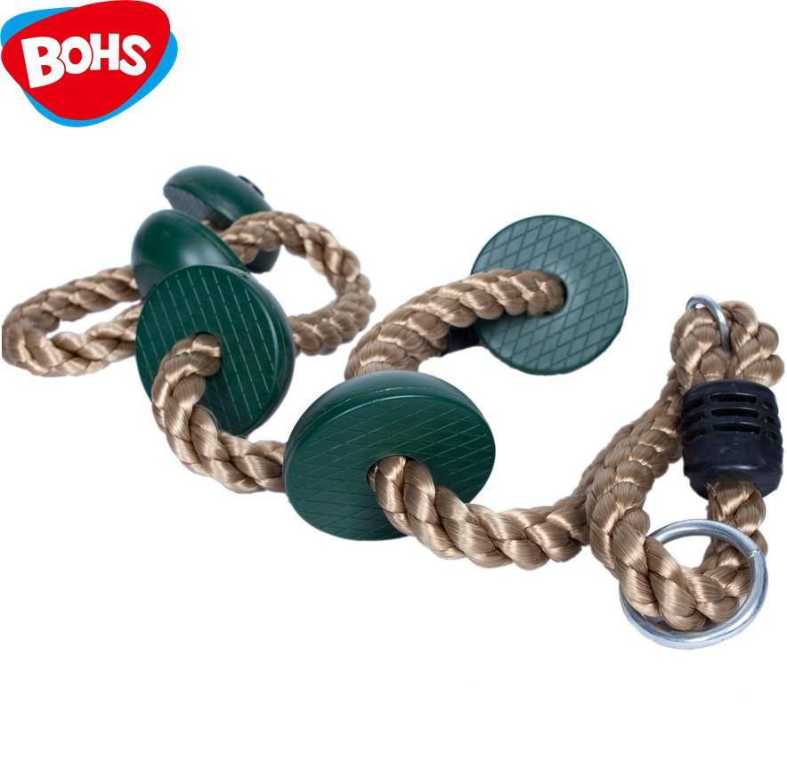 BOHS Kids Green Disc Climbing Rope Ladder Swing Set Tree House Accessories Sturdy Nylon Child Outdoor Sports