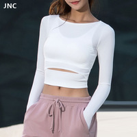 JNC Women Gym White Yoga Crop Tops Yoga Shirts Long Sleeve Workout Tops Fitness Running Sport