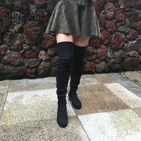 Women S Faux Suede Over The Knee Boots Flat Sexy Slim Thigh High Boots Plus Size