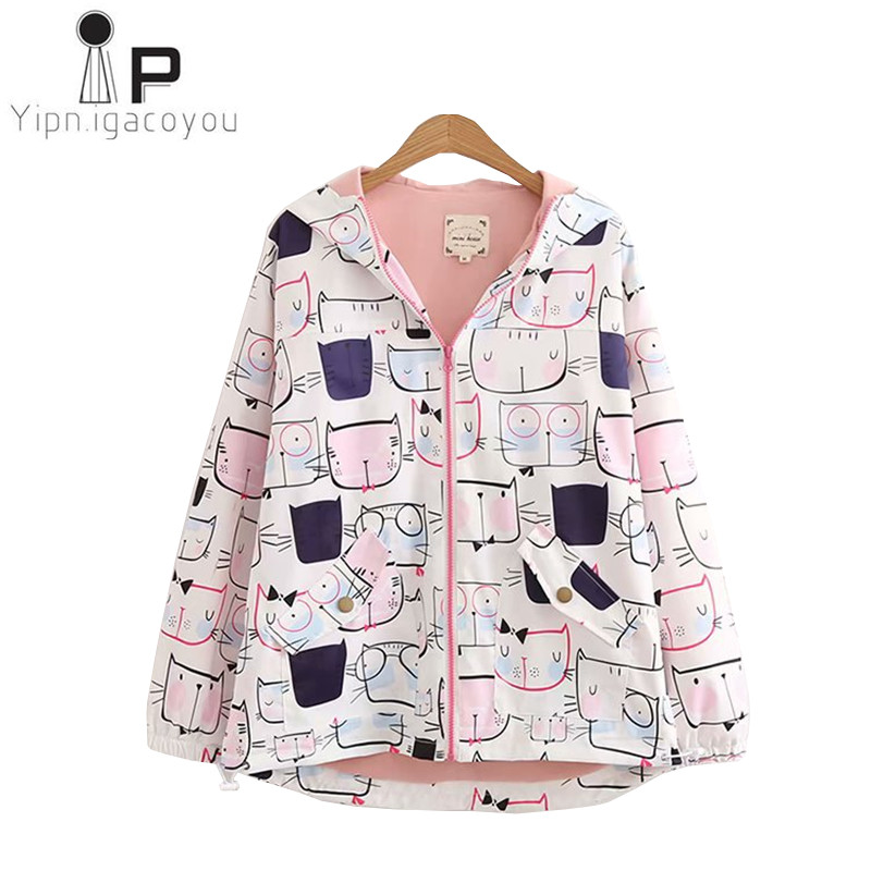 Autumn Harajuku Jacket Women Print Coat 2018 Ladies Large size Thin Cartoon Hoodies Women Coat Casual Long sleeve Ladies Jacket