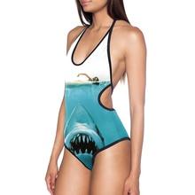 2019 New Swimwear Women One Piece 3D Animal Print Sexy Swimsuit Girl Shark Monokini Halter Backless Swimming Bathing Suit Bikini недорго, оригинальная цена